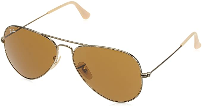46d22fc971f Ray-Ban AVIATOR LARGE METAL - ANTIQUE GOLD Frame BROWN Lenses 58mm Non- Polarized