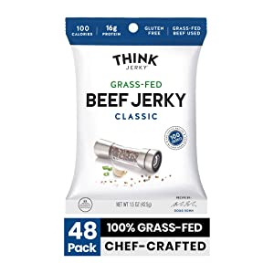 Classic Beef Jerky by Think Jerky — Delicious Chef Crafted Jerky — Grass-Fed Beef Free of Gluten, Antibiotics and Nitrates — Healthy Protein Snack Low in Calories, Fat and Salt — 1.5 Ounce (48 Pack)