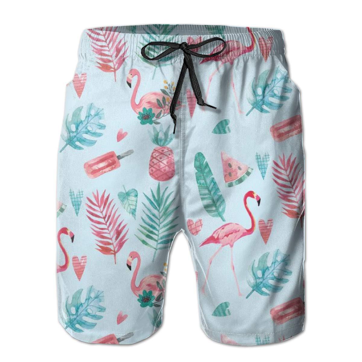 3D Swimming Trunks Board Shorts for Men Galaxy Voyage Flamingo Bird Boy Mens Swim Trunks Surf Pants
