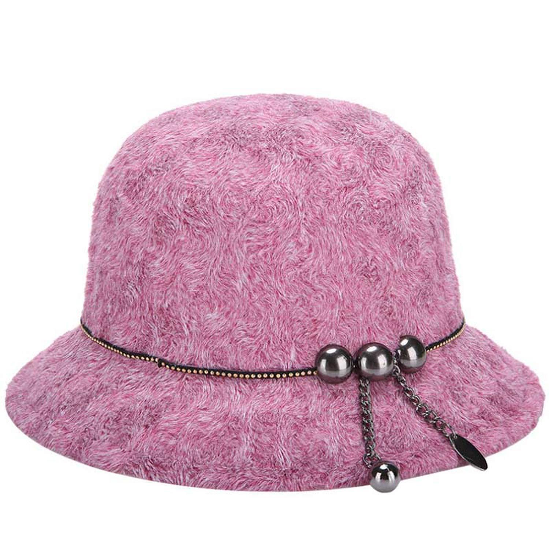 Fashion Women Fedora Bowler Hat Winter Wool Cloche Round Cap Vintage Bucket Hats