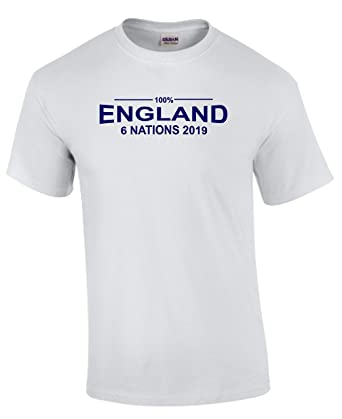 18530c13cd3 100% England Rugby Six Nations 2019 T-Shirt Kids White: Amazon.co.uk:  Clothing