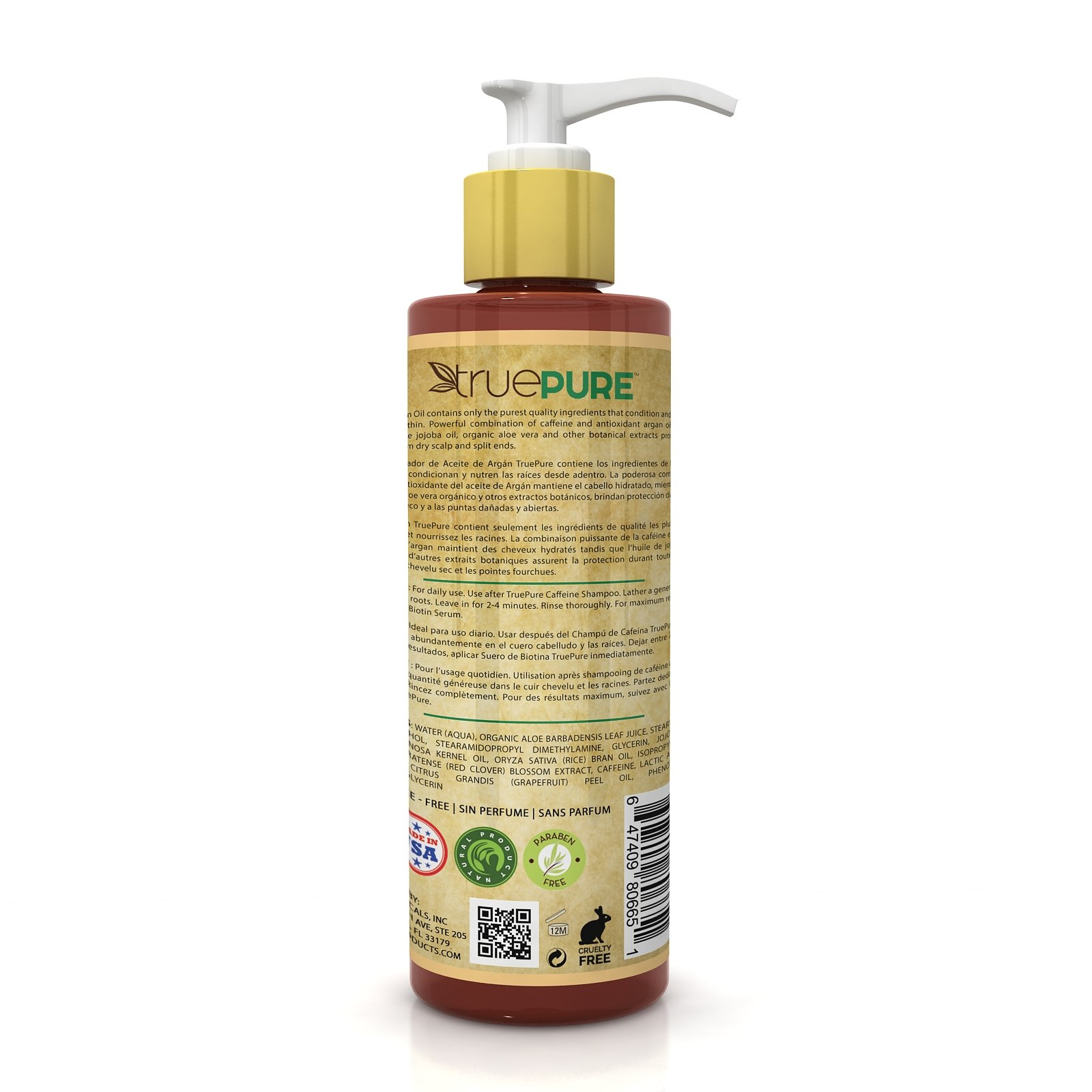 TruePure Argan Oil Conditioner - Deep Conditioning Hair Treatment For Men & Women With Dry, Damaged Hair - Fragrance Free & Sulfate Free Natural Hair Product, 8oz by TruePure (Image #2)