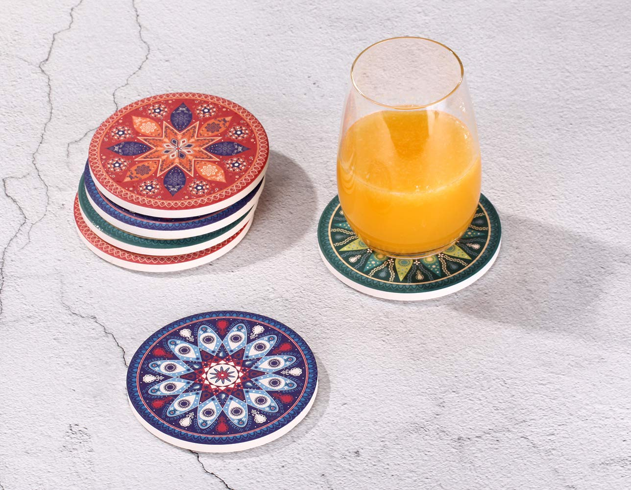 Absorbent Stone Coasters fro Drinks - 6PacksTabletop Drink Spill Coaster Set, Unique Mandala Style