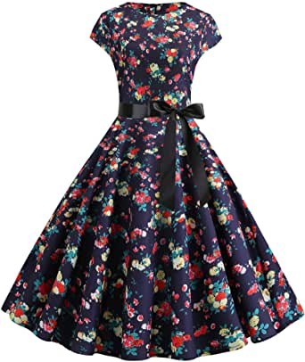 perfectCOCO Flower Printed Dress Swing Elegant Dresses for