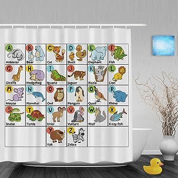 Funny Cartoon Alphabet Letters Design Kids Bthroom Shower Curtains Cute  Animals Children Nursery Shower Curtain High