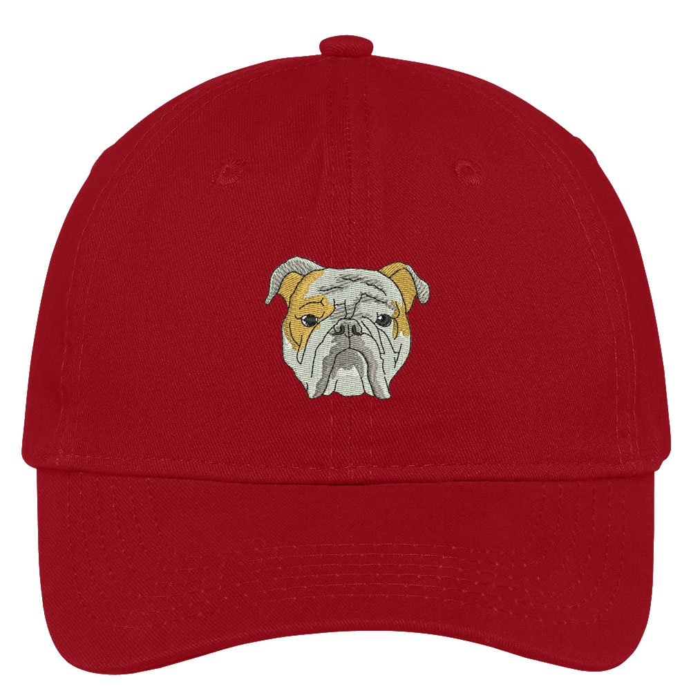 24854b98a75 Trendy Apparel Shop English Bulldog Head Embroidered Low Profile Soft  Cotton Brushed Cap - Black at Amazon Women s Clothing store