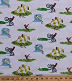 Cotton Curious George Monkey Kite Flying Kites Bikes Summer Vacation Animals Monkeys Kids Cotton Fabric Print by the Yard (3936M-3A)