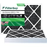 FilterBuy 20x25x1 Air Filter MERV 8 (Allergen Odor Eliminator), Pleated HVAC AC Furnace Filters with Activated Carbon (4-Pack