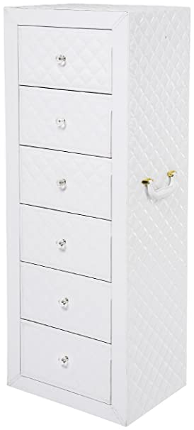 Kare Declikdeco Commode Blanche En Simili Cuir Capitonne Amazon