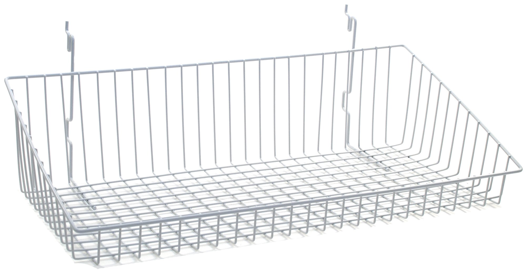 KC Store Fixtures A03035 Sloping Basket Fits Slatwall, Grid, Pegboard, 24'' W x 12'' D x 6'' H Back x 2'' H Front, White (Pack of 6)