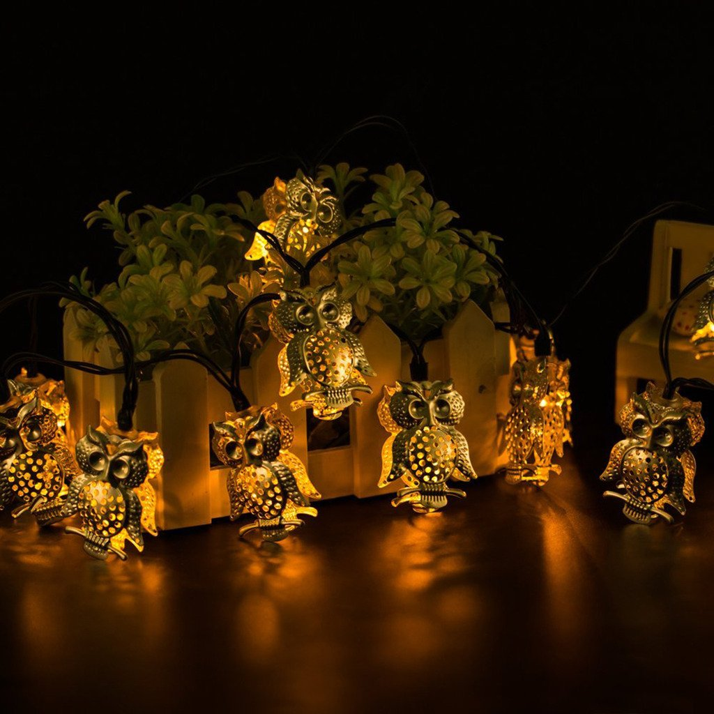 Solar Powered String Light 10 LEDs String Light for Outdoor, Gardens, Wedding, Dancing, Party, Chirstmas Decoration Light(Owls)
