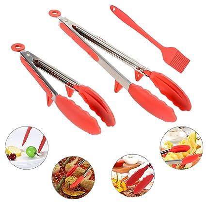 Pinzas de cocina, Chycet Multiusos y Acero Inoxidable Con Soporte Pinzas para Comida Un Par
