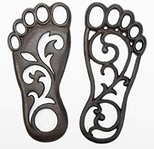 Sungmor Heavy Duty Cast Iron Stepping Mat - Retro Style Left & Right Footprint Front Door Mat Ground Decor - Outdoor Garden Lawn Panel Decorative Stepping Metal Stone - 11.8x5.5Inch & 1 Pair Pack