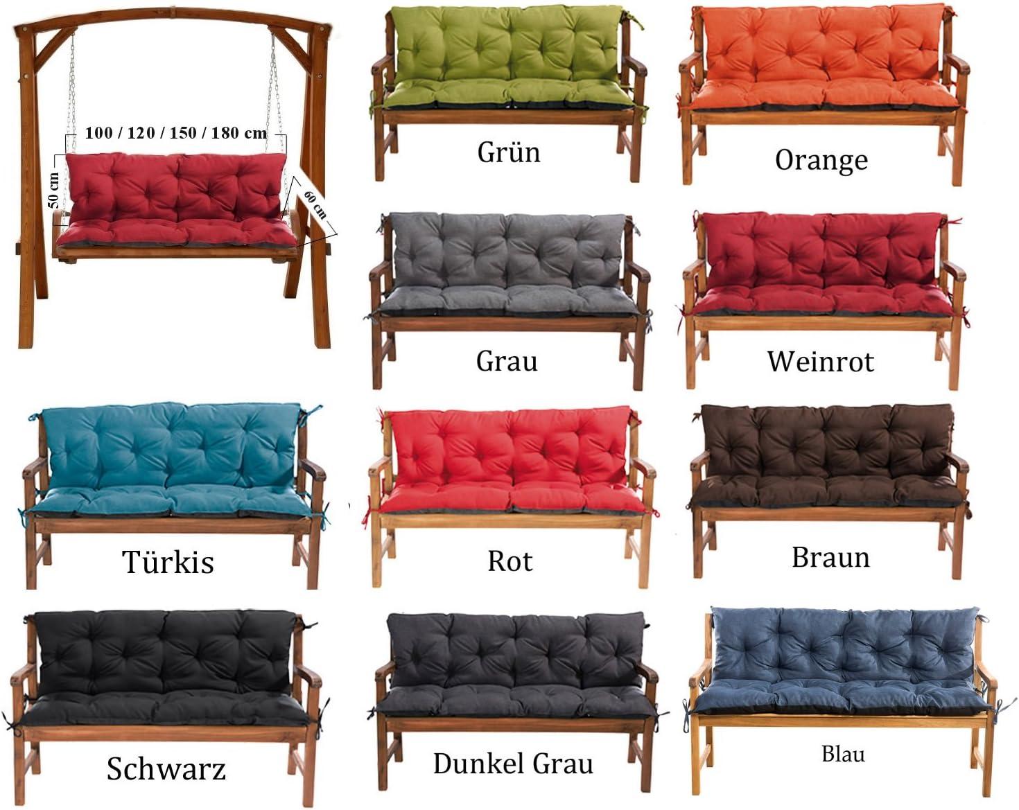orange MH Gartenbankauflage Bankauflage Bankkissen Sitzkissen 180 x 60 x 50 cm Polsterauflage Sitzpolster