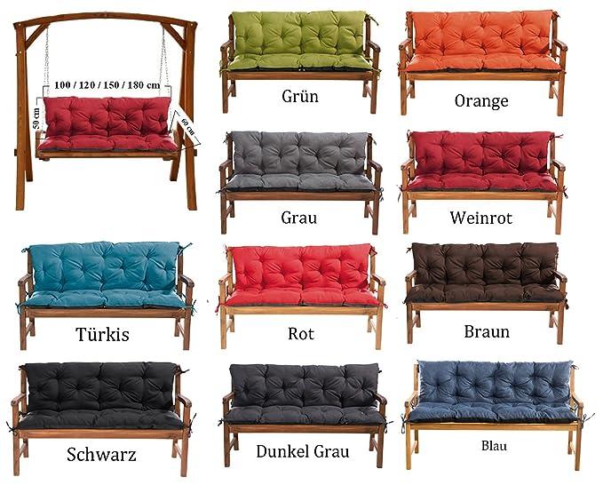 MH Gartenbankauflage Bankauflage Bankkissen Sitzkissen 150 x 60 x 50 cm Polsterauflage Sitzpolster (orange)