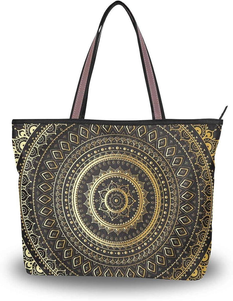 Zip Tote Bag Indian Mandala Womens Handbags Shoulder Bags Satchel Purse