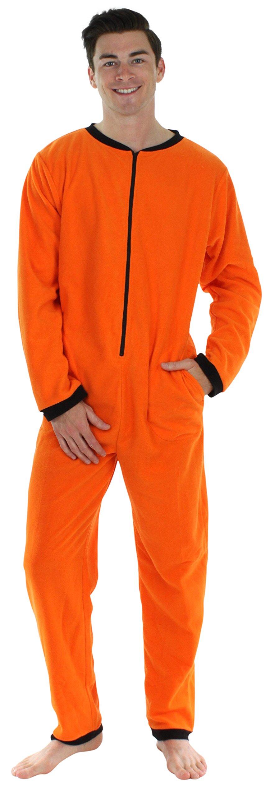 Sleepyheads Men's Adult Non Footed Fleece Color Onesie Pajama Jumpsuit (SH2200-4030-MED), Orange W-Black Zipper, Medium by Sleepyheads