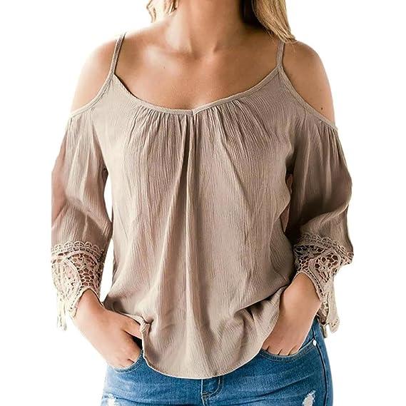 OHQ Camiseta Mujeres Blusas OtoñO Off Shouder Suelta Manga Larga Patchwork Camisa Blusa Tops Vestido Mujer