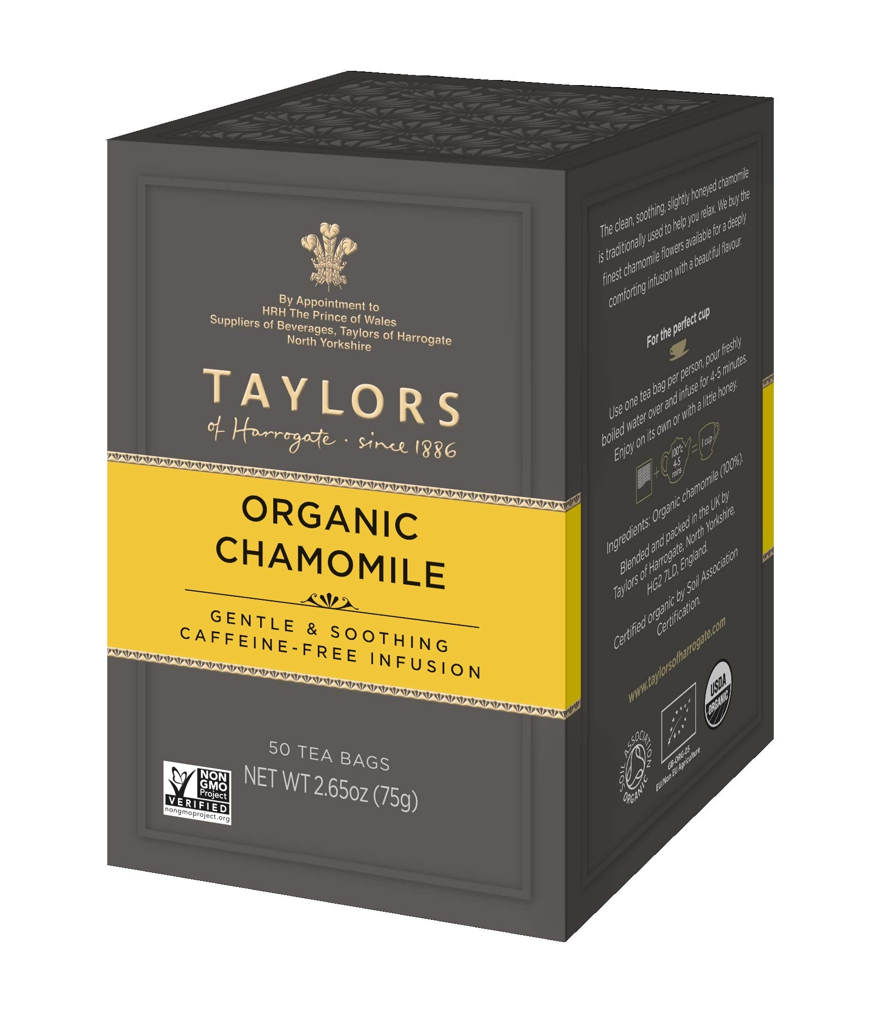 Taylors of Harrogate Organic Chamomile Herbal Tea, 50 Teabags (Pack of 6) by Taylors of Harrogate (Image #1)