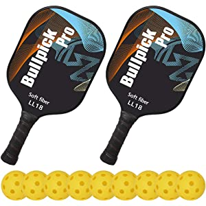Bullpickpro Pickleball Paddle Sets-Composite Fiber Face and PP Honeycomb Core Pickleball Racquet,Lightweight