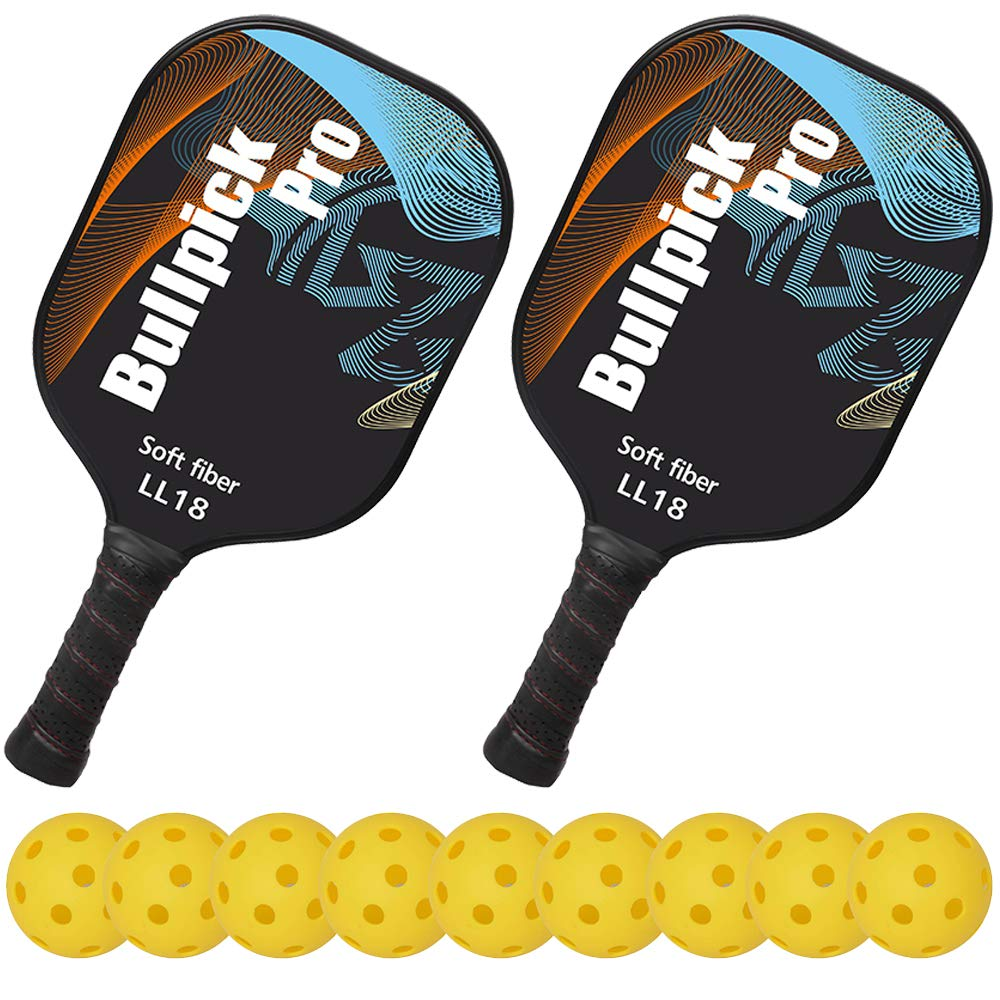Bullpickpro Pickleball Paddle Sets-Composite Fiber Face and PP Honeycomb Core Pickleball Racquet,Lightweight Edge Guard Balanced Pickleball Rackets with 9 ...