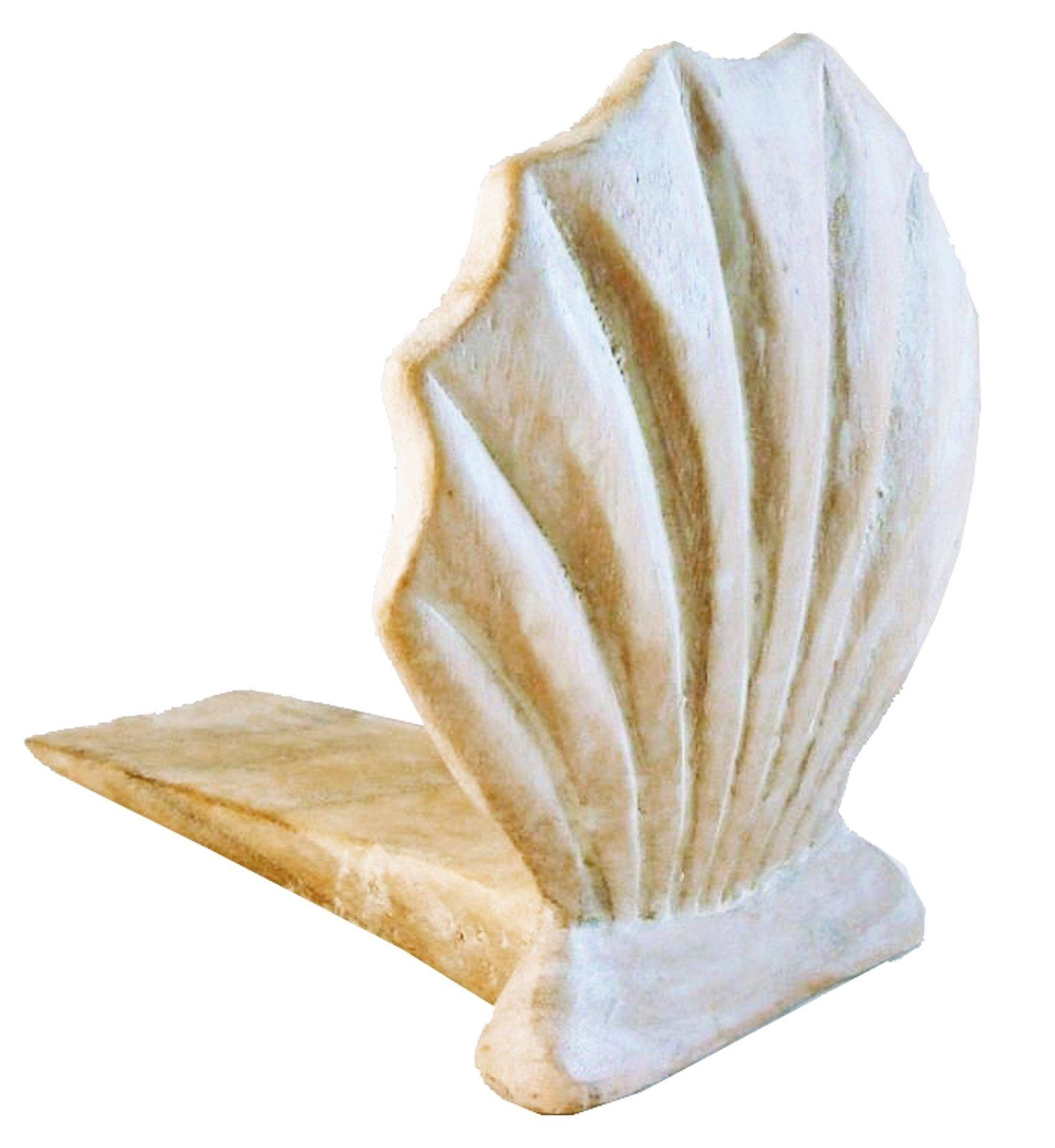 Door Stopper - Wooden Scallop Shell Door Stop - Scallop Shell Doorstop - White Wash - Nautical Decor