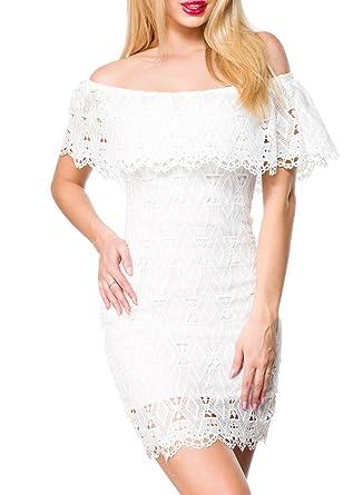 new concept f96cb cc63c Unbekannt Weißes Kurzes Kleid mit Carmenausschnitt und ...