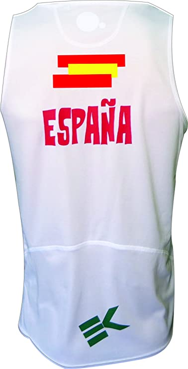 CAMISETA EKEKO ESPAÑA 2018 TIRANTES, PARA RUNNING COLOR BLANCO ...