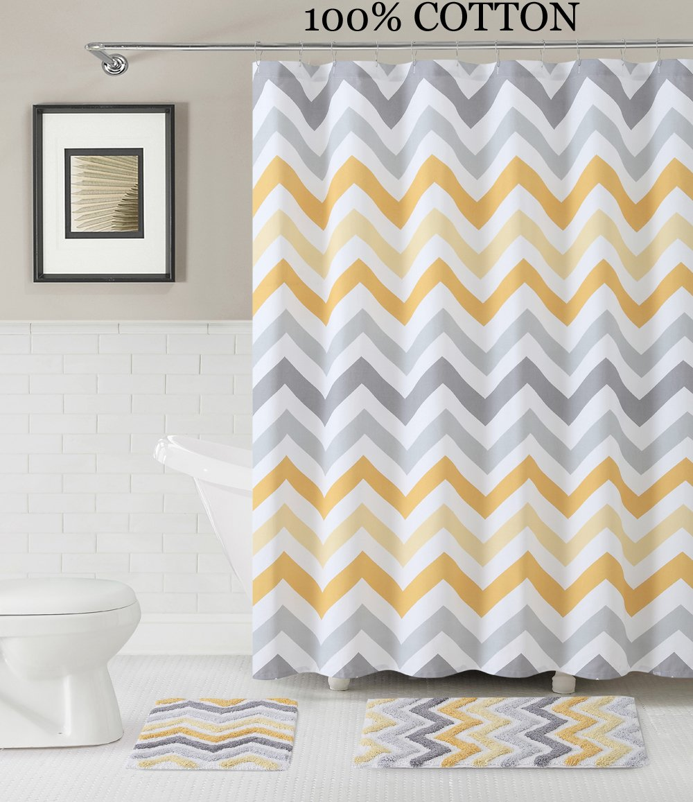 Yellow and gray shower curtain - Amazon Com 3 Pc Bath Set Shower Curtain And 2 Mats Chevron Zig Zag Design Purple White And Gray 100 Cotton Yellow White Gray Home Kitchen