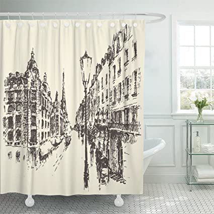 Emvency Decorative Shower Curtain French Streets In Paris France Vintage Engraved Hand Drawn City Old Draw