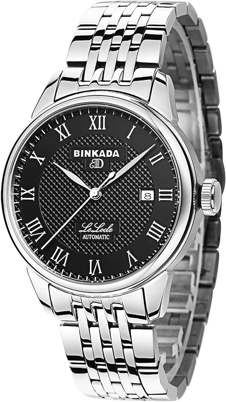 BINKADA自動機械ビジネスカジュアルローマ数字メンズ用腕時計用時計 Stainless Steel-Black Dial B015EBUBEOStainless Steel-Black Dial
