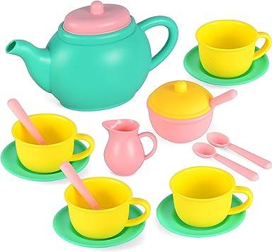 JOYIN 18 Pcs Juego de té y Platos de Juguete para Merienda Playact Juguetes de Cocina con tetera y tazas para Niños Niñas (Colores al azar)