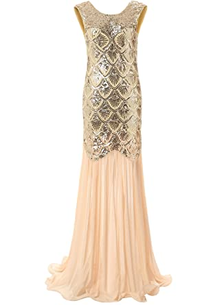 Bbonlinedress 1920s Long Sequins Gatsby Mermaid V-Back Vintage Prom Dresses Evening Party Gown Gold