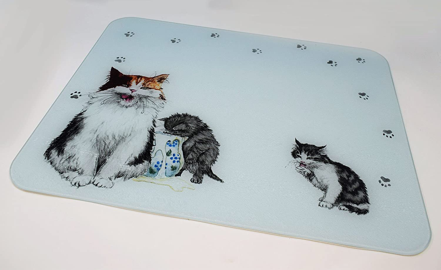 Large Premium Glass Chopping Board - Cats Whiskers Design Kitchen ...