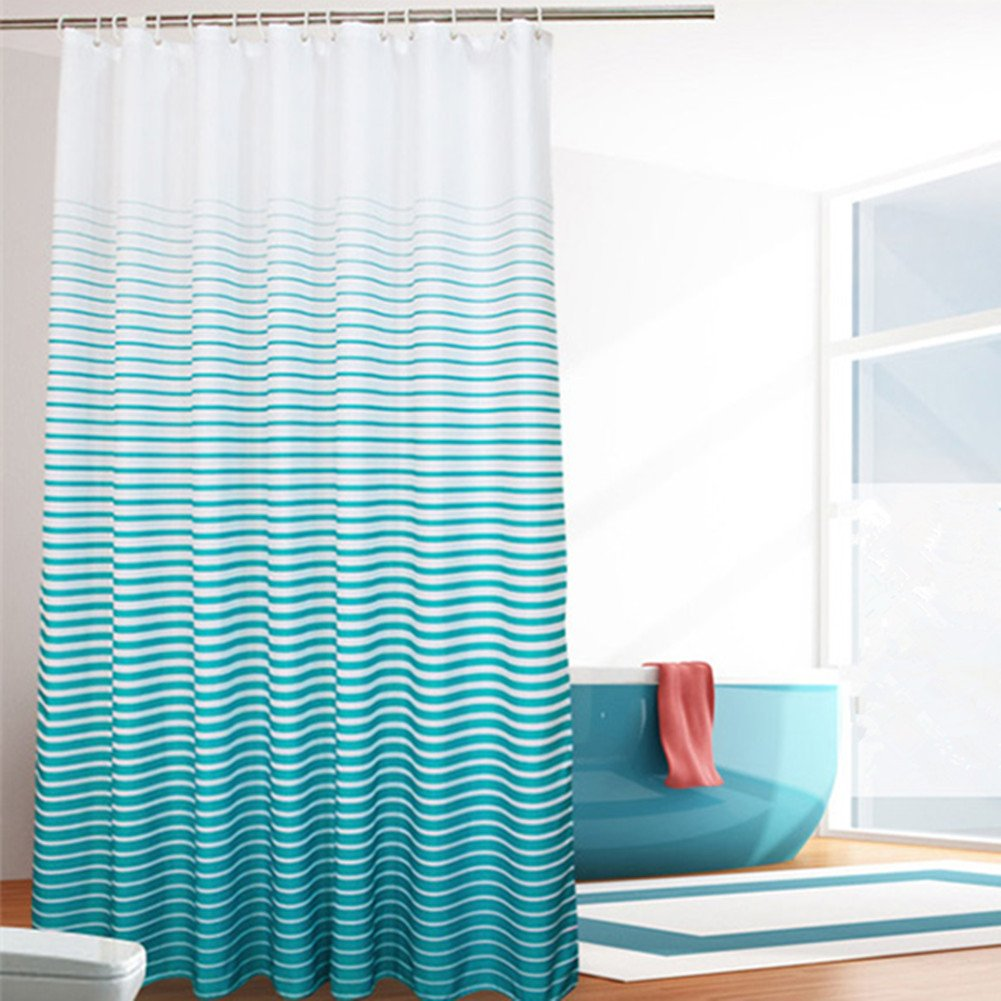 Uforme 60 Inch By 72 Shower Curtain Ombre Stipes Pattern Design Heavy Duty Polyester Bathroom Waterproof And Mildew Resistant With Hooks For