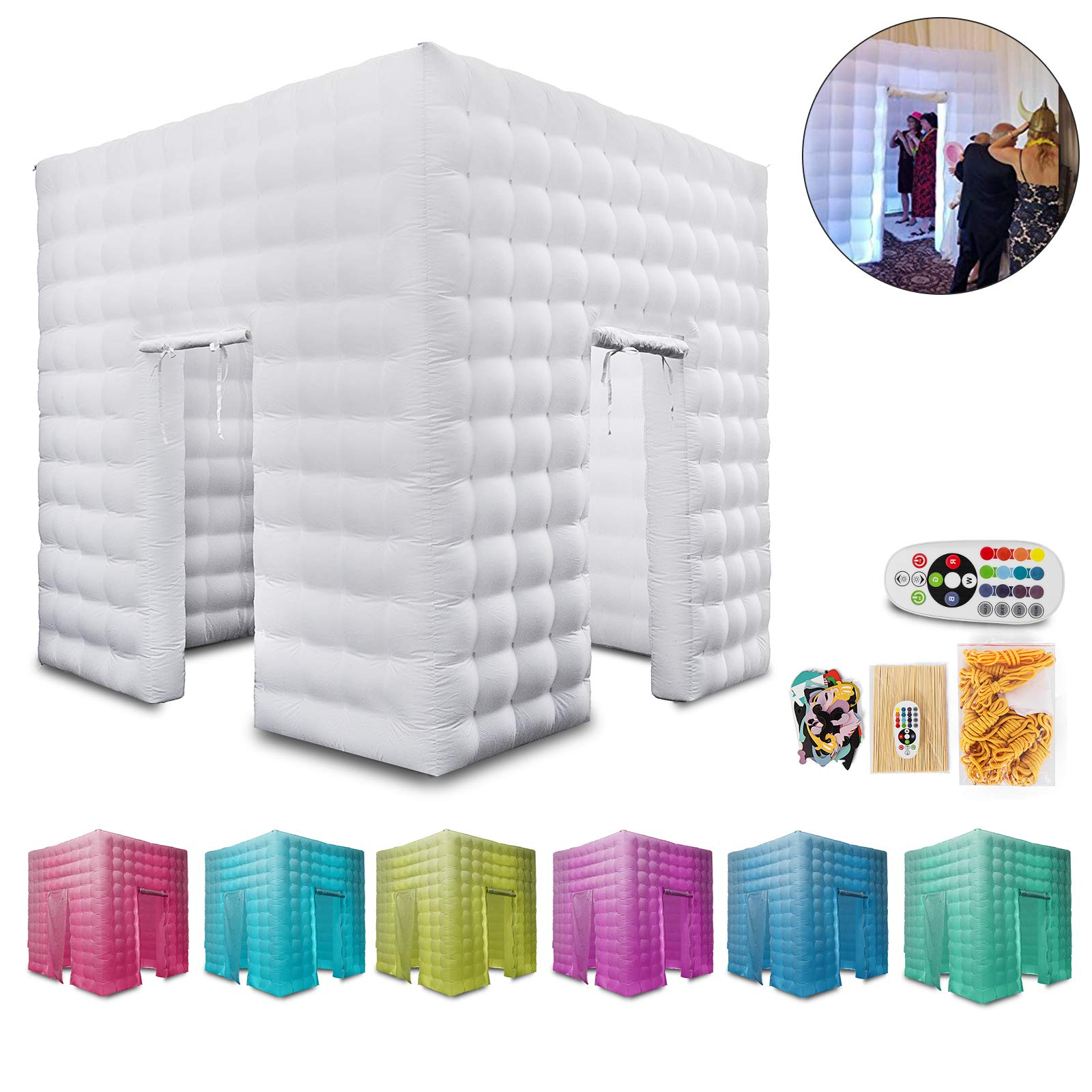 Happybuy Inflatable Portable Photo Booth Enclosure with LED Changing Lights Inner Air Blower and Controller for Wedding Party Promotions Advertising Photo Booth Tent Cube (Two Door) by Happybuy (Image #1)
