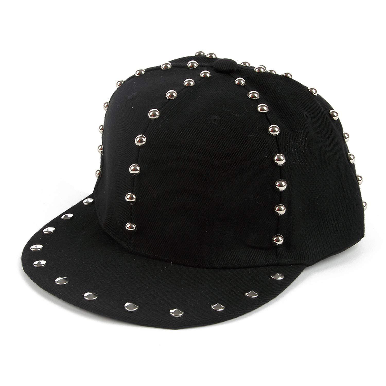 Spring Summer Women Mens Black Rivet Baseball Caps Gorras Hip Hop Snapback Hats at Amazon Womens Clothing store: