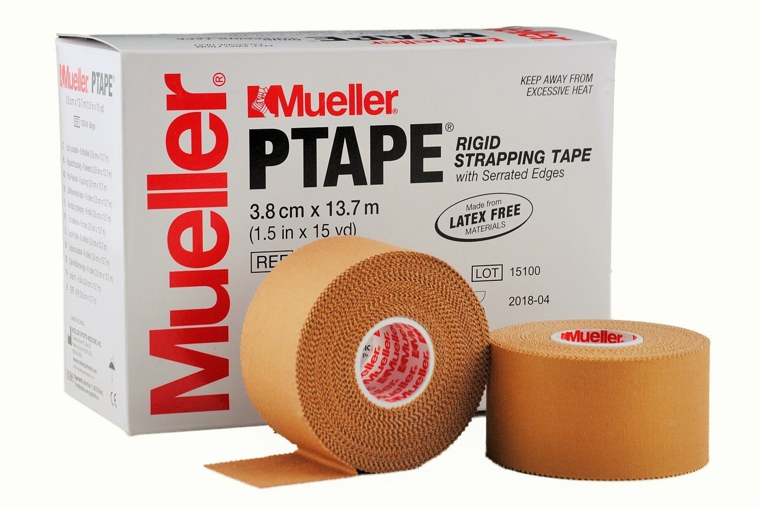 """Mueller P Tape- Beige Strapping Tape- 1.5""""x 15 yard rolls- Strong, Porous, Adhesive Corrective Tape with Serrated Edges (Case of 30) by Mueller"""