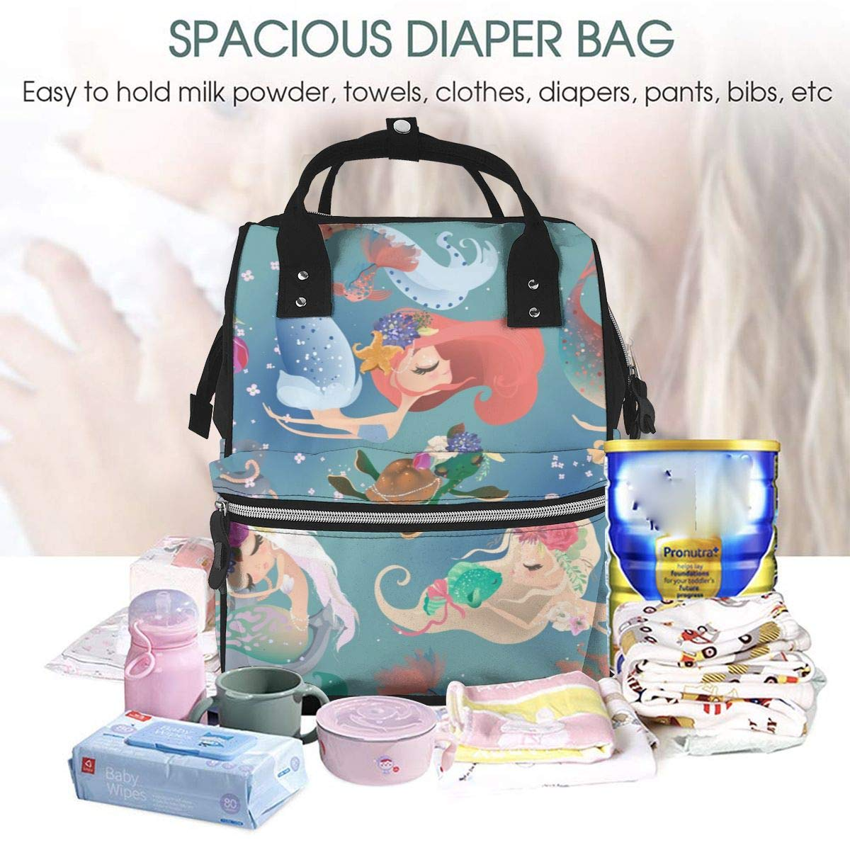 Craze London 5 Pc Maternity Baby Changing Bag Large Nappy Bags with Changing Pad and Insulated Pocket