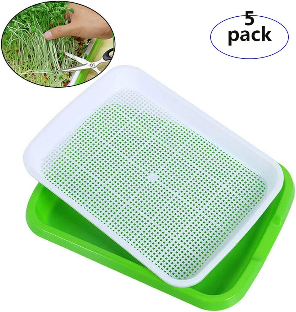 Seed Sprouter Tray 5 Pack,BPA Free Nursery Tray Seed Germination Tray,Healthy Wheatgrass Cat Grass Microgreens Growing Kit,Great for Garden Home Office (5 Pack)