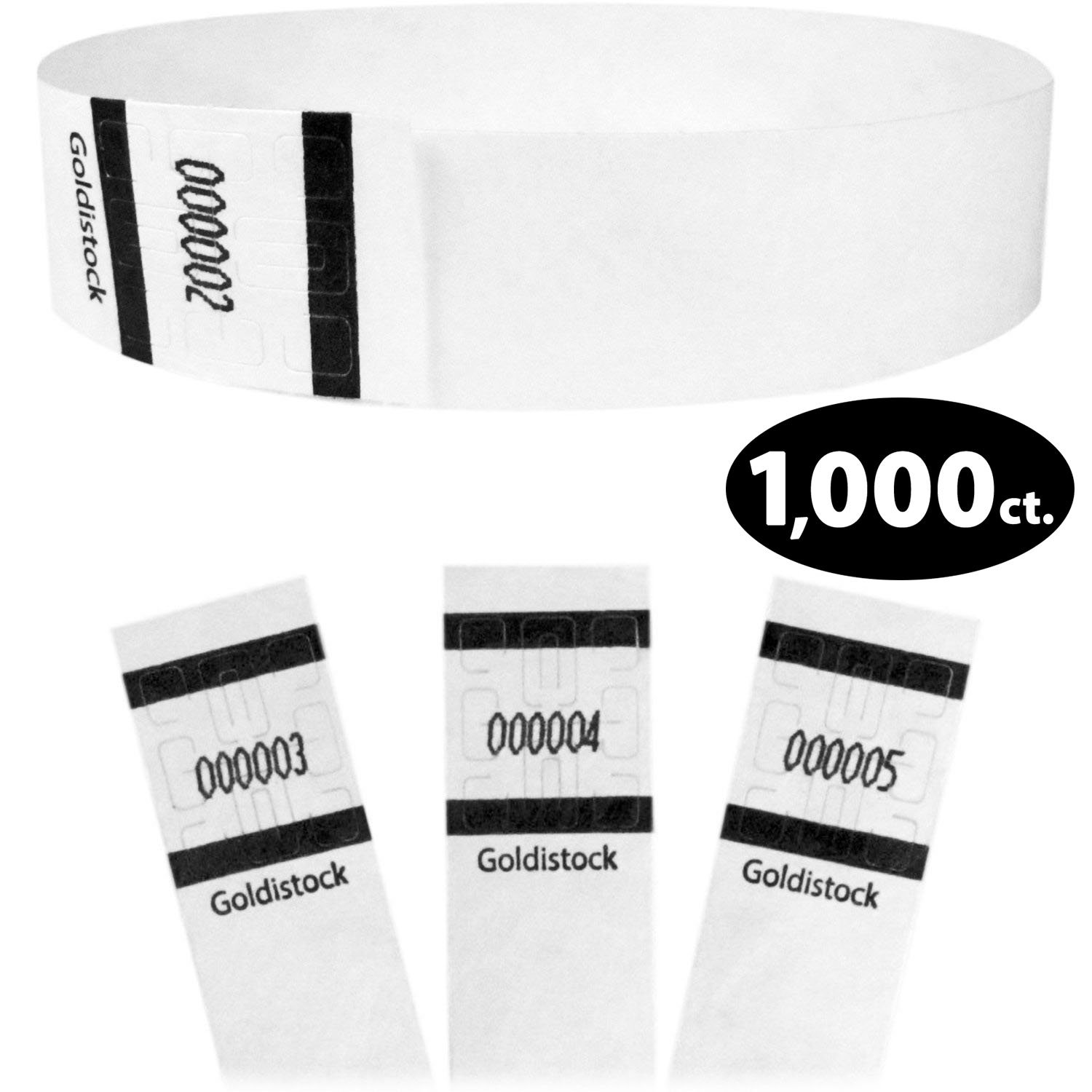 Goldistock Original Series - 3/4'' Tyvek Wristbands Formal White 1,000 Count Value Pack - Event Identification Bands (Paper - Like Texture)