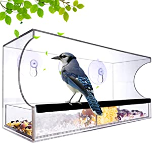 Nature-Decor Window Bird Feeders Outside with Suction Cup Removable Tray Seed Tray Weatherproof Acrylic Clear Bird Feeder Includes 64 Drain Holes