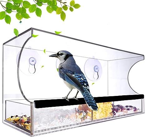 bons plans sur la mode classcic plus tard Grand mangeoire à oiseaux en acrylique avec fenêtre transparente et plateau  de semences amovible comprenant 64 trous de drainage
