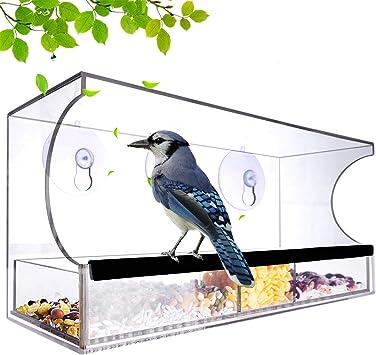 Acrylique Transparent Bird Feeder /Étanche La Pluie Mangeoire Oiseaux Achort Plateau Amovible Mangeoire /à Oiseaux Exterieur avec Trous de Drainage capacit/é de semences /élev/ée ventouses Super-Fortes