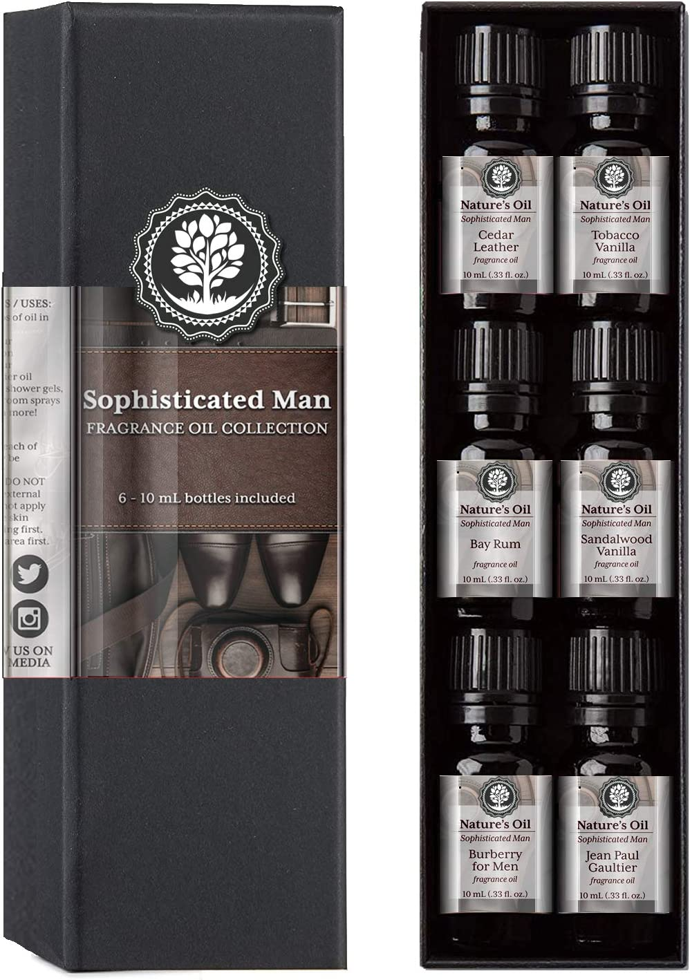 Sophisticated Man Fragrance Oil Set Top 6 Mens 10ml for Cologne, Beard Oil, Diffuser Oils, Making Soap, Candles, Lotion, Home Scents, Linen Spray and Lotion