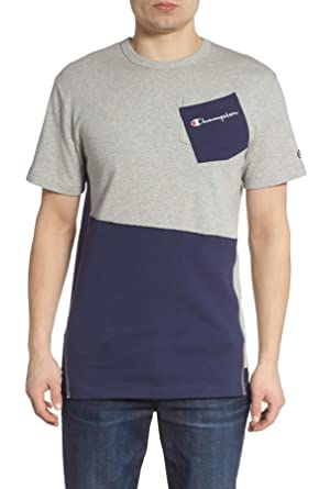3136369e9fe9d1 Amazon.com: Champion LIFE Oxford Grey/Navy Heritage Shift Pocket T ...