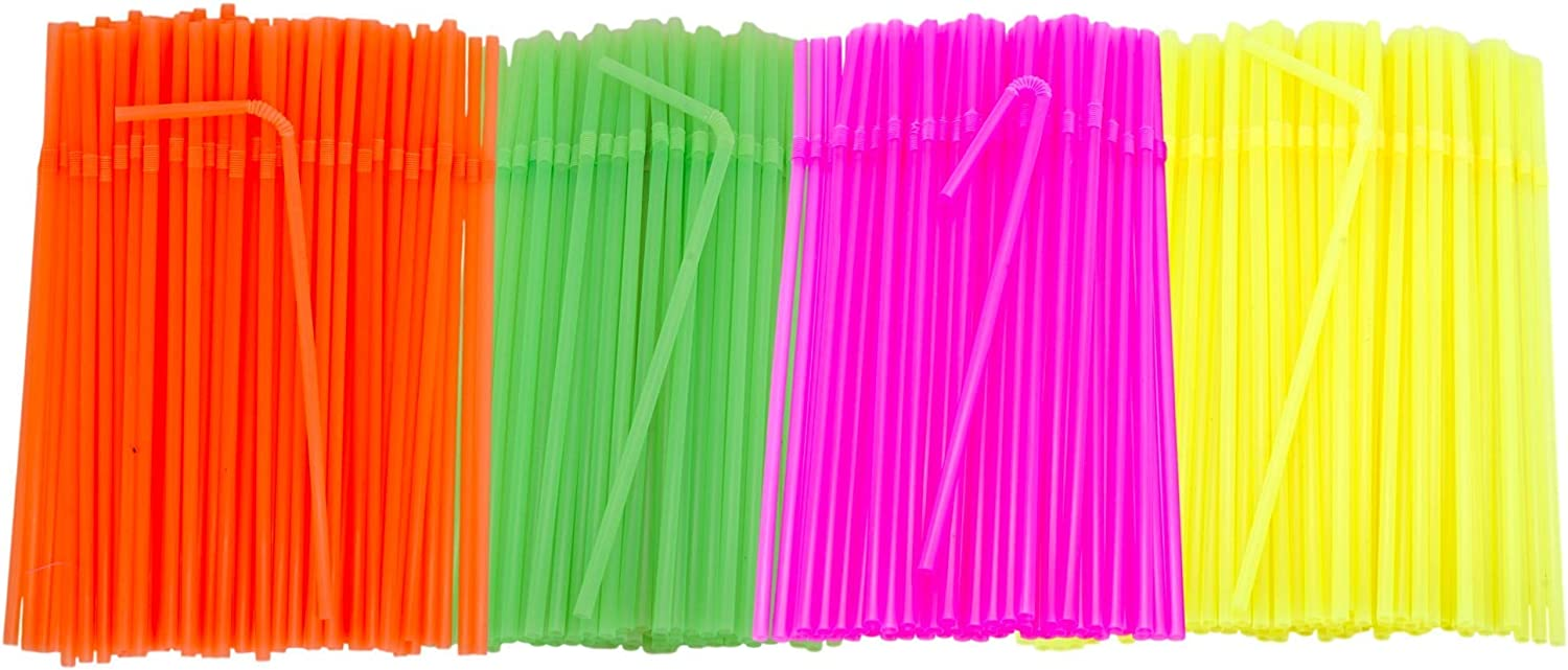 ZKHONG Flexible Plastic Straws 500 Pack Striped Multi Colored BPA-Free Bendable Drinking Straws for Kids and Adults
