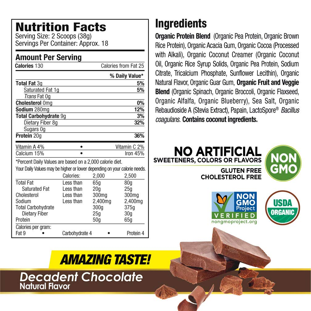 Purely Inspired Organic Protein Shake Powder, 100% Plant Based with Pea & Brown Rice Protein (Non-GMO, Gluten Free, Vegan Friendly), Decadent Chocolate, 1.5lbs by Purely Inspired (Image #2)