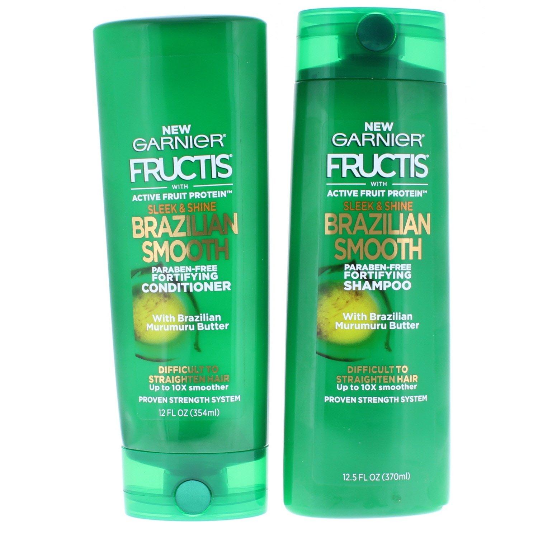 Garnier Fructis Sleek & Shine Brazilian Smooth Shampoo and Conditioner, Difficult to Straighten Hair, 12.5 fl. oz.