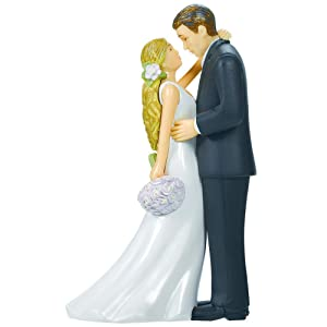 Bride & Groom with Bouquet Cake Topper | Wedding and Engagement Party, 4.5""